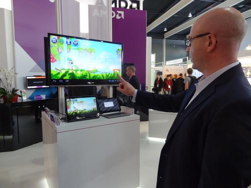 Working with BlueStacks, AMD has optimized a version of Android to run on its processors. At Mobile World Congress AMD added additional software to perform gesture tracking using a standard webcam, allowing the company's director of mobility solutions, Kevin Lensing, to play Angry Birds on a Windows tablet under Android, without touching the screen.