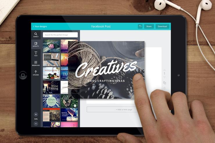 The Canva iPad app.
