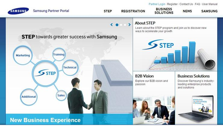 Samsung's new online partner portal, through which partners can register for a profile.