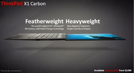 Lenovo's Carbon X1 ultrabook slide shot