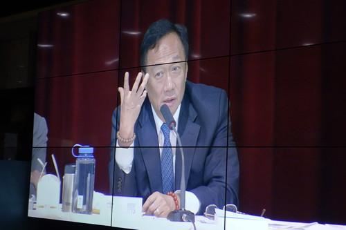 Foxconn's CEO Terry Gou displayed on a monitor at the company's annual shareholders' meeting.