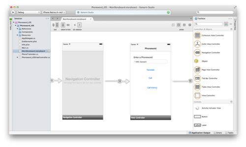 Using Xamarin Designer for iOS developers can build and modify iOS 6 and 7 so-called storyboard files, which are used to assemble the different screens that make up an iOS application and the navigation path through these.
