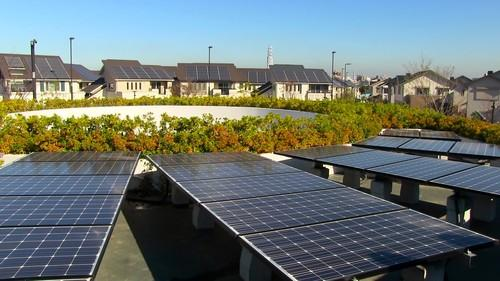 Panasonic's Fujisawa Sustainable Smart Town south-west of Tokyo on features houses equipped with solar panels, storage batteries and LED lights