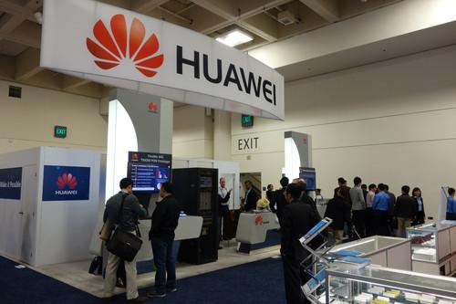 Huawei Technologies' booth at the 2014 Optical Fiber Communications Conference in San Francisco.
