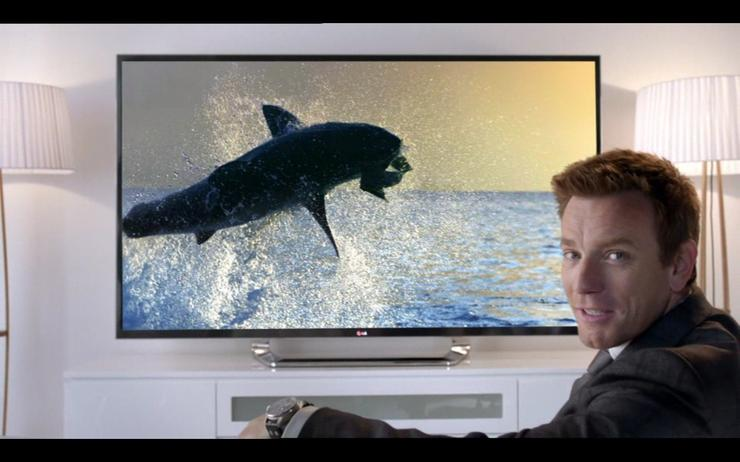 The 15 second spot begins with Ewan McGregor watching footage of a shark catch its prey on an LG Ultra HD television. He then addresses the audience.
