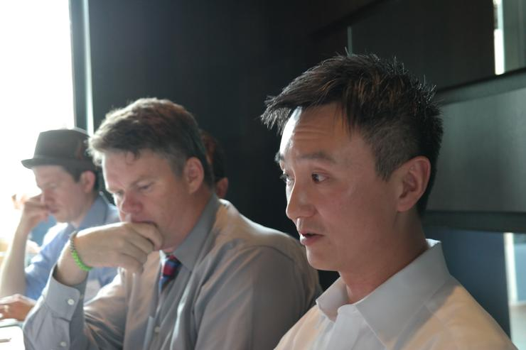 Zuora founder and chief executive Tien	Tzuo (right) in Sydney