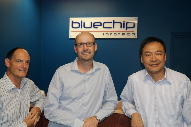 Bluechip Infotech's, Phil Lancaster, with sales director, Ron Jarvis, and Bluechip Infotech managing director, Johnson Hsiung.