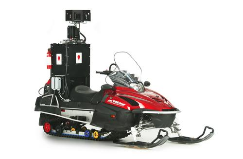 A snowmobile is equipped with a Google Street View camera mast. The vehicles have been used to image ski resorts in North America.