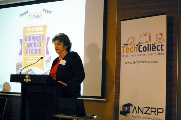 TechCollect CEO, Carmel Dollisson, announcing the world record