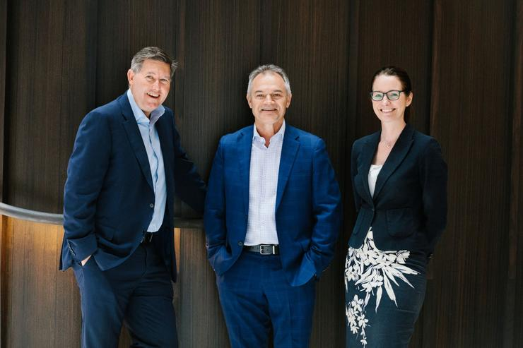 (L-R) Anthony Honeyman and Tim Ryan, from Apis Group, with Louise May, Accenture's Health & Public Service lead for Australia and New Zealand