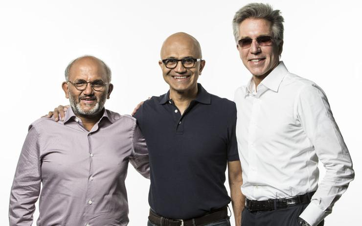 Shantanu Narayen (Adobe); Satya Nadella (Microsoft) and  Bill McDermott (SAP)