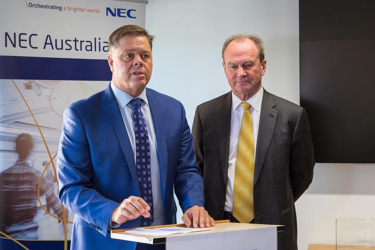 NEC Australia sales and solutions director, Andy Hurt (L) and South Australia's Minister for Investment and Trade, Martin Hamilton-Smith (R). (NEC)