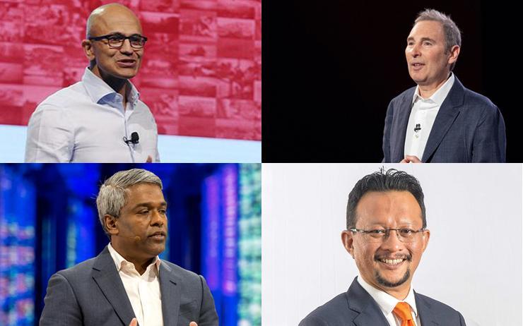L-R: Satya Nadella (Microsoft); Andy Jassy (Amazon); Thomas Kurian (Google Cloud) and Imri Mokhtar (Telekom Malaysia)