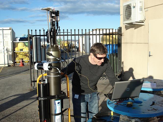 CSIRO's Nick Hardman-Mountford checks a BioArgo's satellite communication link.