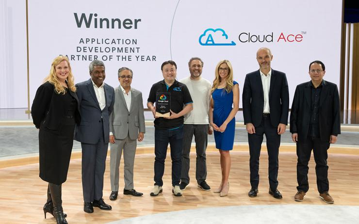 Cloud Ace taking home the 2018 Google Cloud Global Application Development Partner of the Year award at Google Cloud Next '19
