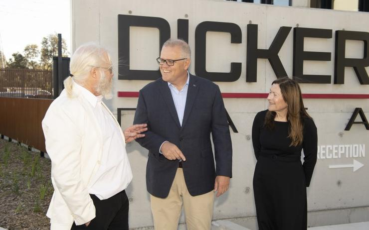L-R: David Dicker (Dicker Data), Scott Morrison, Fiona Brown (Dicker Data)
