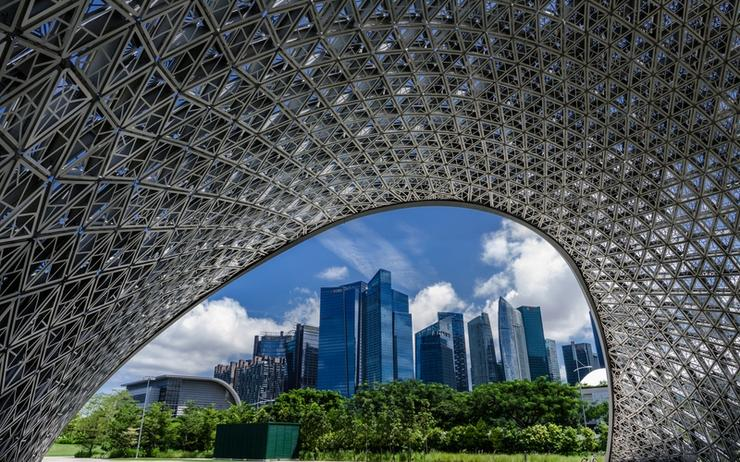 Singapore's central business district area as seen from 'the future of us' exhibition pavilion