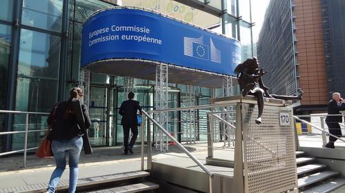 In front of the European Commission's Charlemagne building in Brussels on June 17, 2015