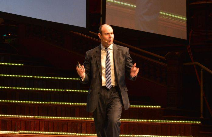 Optus Business managing director, John Paitaridis, giving his keynote at Optus Vision 2015
