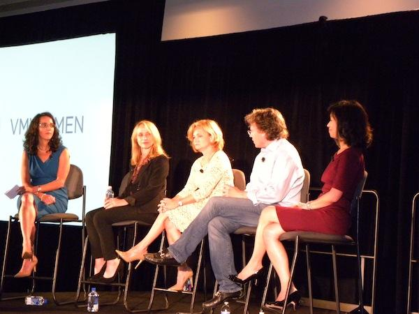 (L-R) VMware chief marketing officer, Robin Matlock (moderator); Capgemini global partner executive group vice-president, Sheryl Chamberlain; Aetna IT infrastructure and development services vice-president, Renee Zaugg; VMware global field chief technology officer, Paul Strong; and Stanford University Clayman Institute for gender research executive director, Lori Mackenzie