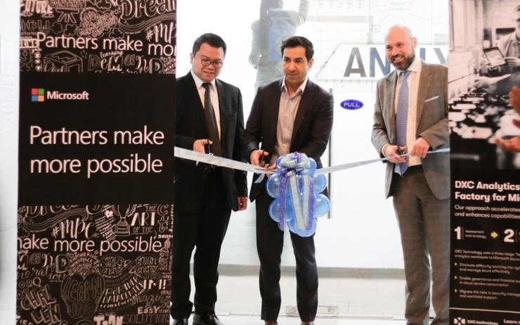 L-R: Peter Ramolete (DXC); Ricky Kapur (Microsoft) and Abdallah Zabian (DXC)