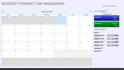 Microsoft Dynamics GP 2015 R2 includes a new time-management app