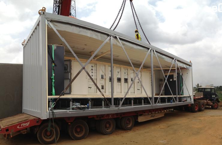 A Flexenclosure eCentre Data Centre arriving at an MTN Cote divoire site in Africa (Flexenclosure)