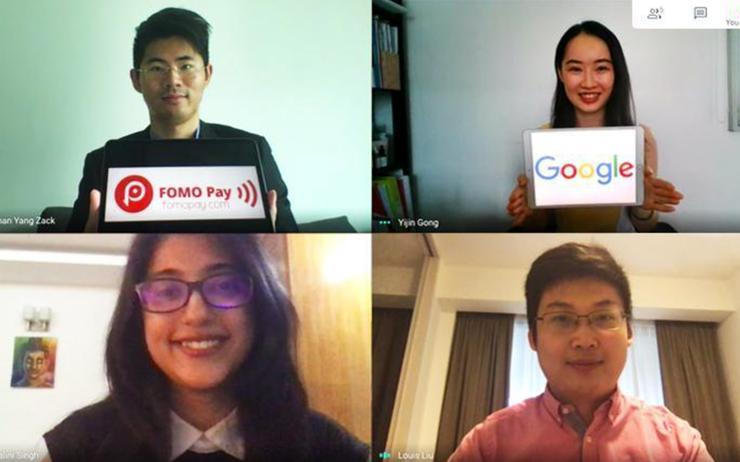 Top row (L-R): Zack Yang (FOMO Pay) and Gong Yijin (Google Cloud) / Bottom row (L-R): Nalini Singh (Google Cloud) and Louis Liu (FOMO Pay)