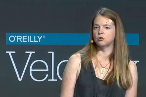 Astrid Atkinson, Google director of software engineering, speaking at the O'Reilly Velocity conference May 2015 in Santa Clara California