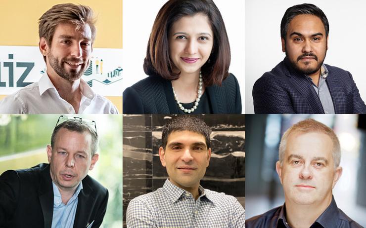 (L-R): Balazs Molnar (Aliz); Bhavana Vatvani (Accenture) and Luv Tulsidas (Techolution) / Andy Waroma (Cloud Comrade); Vishal Parpia (CloudCover) and Myles Bertrand (Mambu)