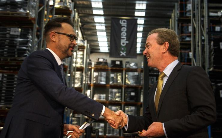 Greenbox CEO, Shane Mulholland, and Minister for Defence Industry, Christopher Pyne