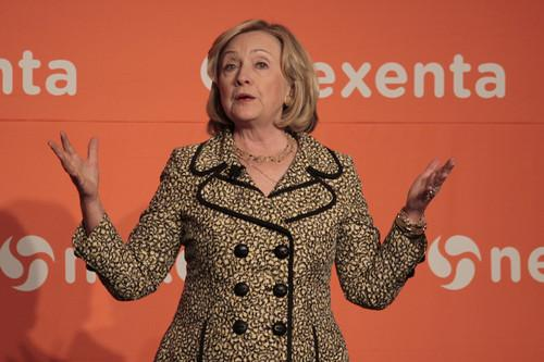 Former U.S. Secretary of State Hillary Clinton spoke on Thursday at the Nexenta OpenSDx Summit in San Francisco.