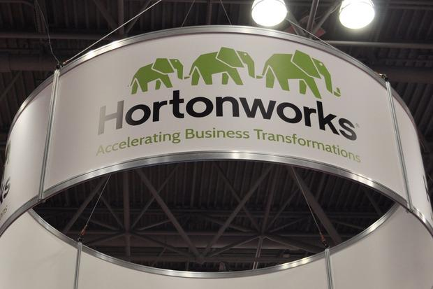A logo for Hortonworks on the company's booth at Strata + Hadoop World in New York on Sept. 29, 2015. Credit: Marc Ferranti