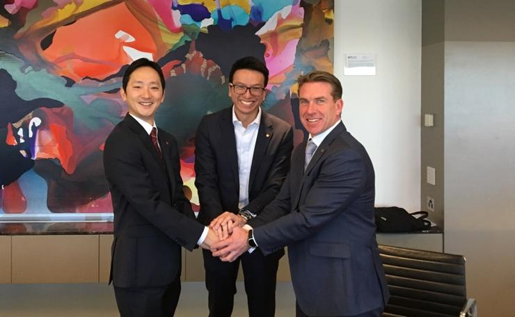 (L to R): Kyocera Document Solutions' Ryosuke Okochi and Huon IT's Dennis Wong and Damian Huon.