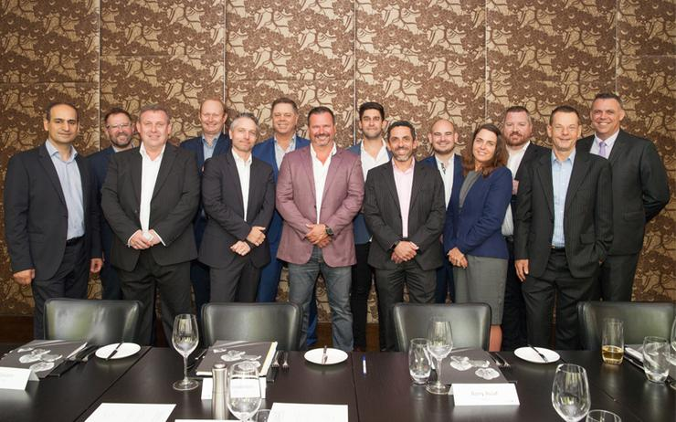 L-R - Barry Assaf (Nexon); Mike Morgan (Insight); Jim Stockwell (iasset.com); Eoin Coghlan (CCNA); Josh Watts (Harbour IT); Andy Hurt (NEC); Scott Frew (iasset.com); Dan Danielli (Arrow); Ronnie Altit (Insentra); James Henderson (ARN); Lucy Knowles (iasset.com); Nick Russell (Katana1); Cam Wayland (Channel Dynamics) and Richard Mitton (Atlas Plato)