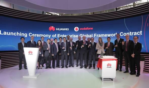 Vodafone and Huawei executives following the signing of the extended global agreement
