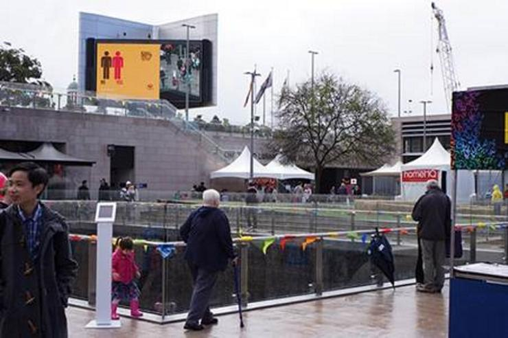 Digital screens were placed in high pedestrian traffic areas