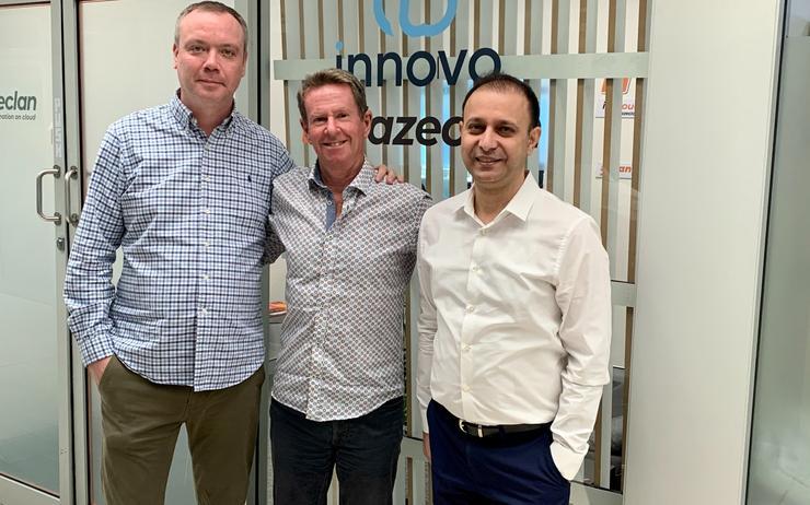 From left: Nick Finlayson (Innovo),  Paul Thorley (Innovo/Blazeclan) and Amit Bassi (Blazeclan)
