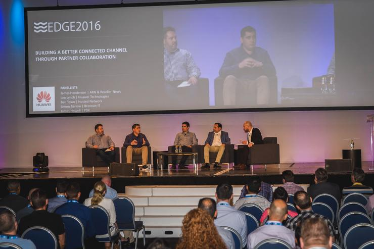 Simon Barlow (Brennan IT); James Howell (PDK); Ben Town (Hosted Network); Leo Lynch (Huawei) and James Henderson (ARN and Reseller News)