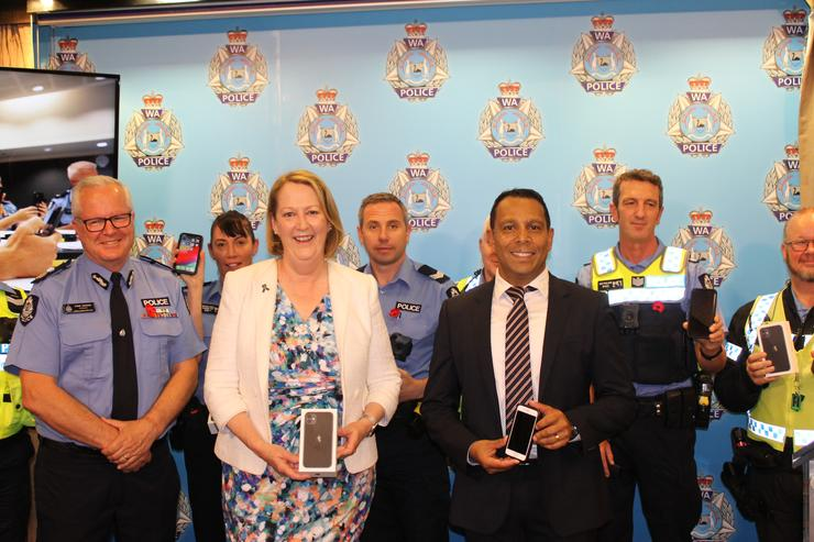 From left: Chris Dawson, (WA Police), Minister Michelle Roberts and Malcolm DeSilva (Telstra)