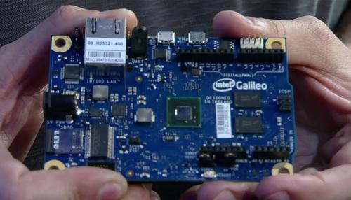 Myerson holding an Intel Galileo board.