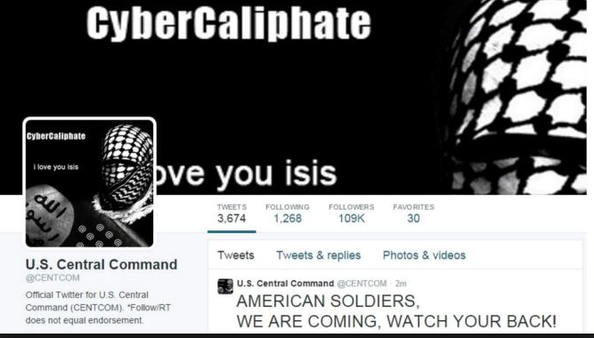 Islamic State hackers hijack US Central Command Twitter page.