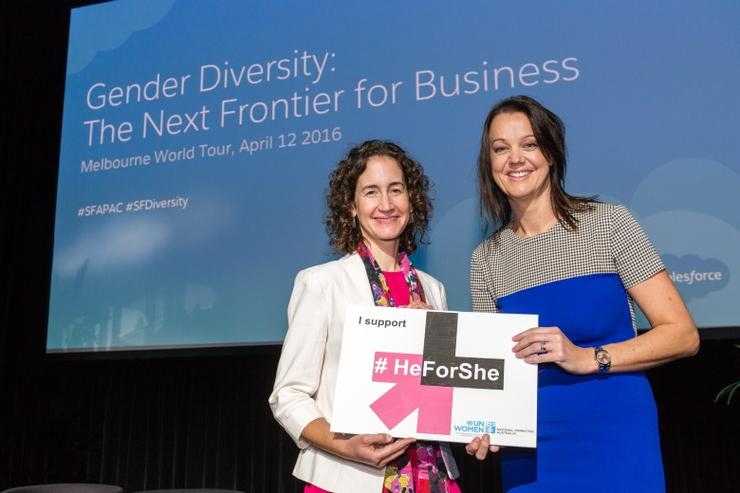 UN Women National Committee Australia executive director, Janelle Weissman and Salesforce vice president of marketing APAC, Wendy Johnstone