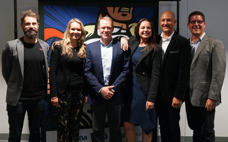L-R: Troy Bebee (Kasna); Rachael Powell (Xero); Colin Timm (Google Cloud); Rhody Burton (Google Cloud); Angelo Joseph (Google Cloud) and Fabio Andrighetto (ANZ Bank)
