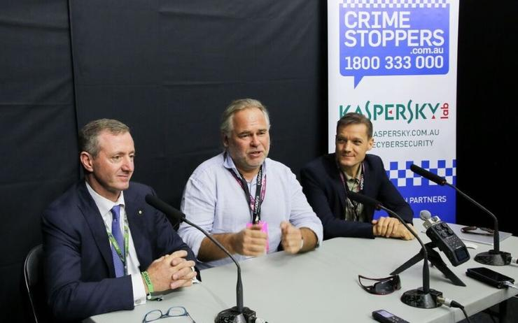 (From left) Crime Stoppers director, Peter Price, Kaspersky Lab CEO and founder, Eugene Kaspersky and Asia Pacific managing director for Kaspersky, Stephan Neumeier