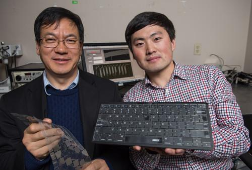 Georgia Tech Professor Zhong Lin Wang and graduate research assistant Jun Chen created a self-powered keyboard that can also be used for biometric authentication based on a person's typing style.