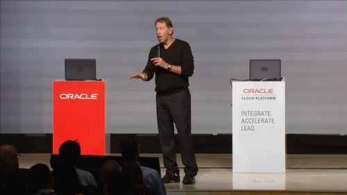 Larry Ellison speaks at the Oracle Cloud Platform launch on June 22