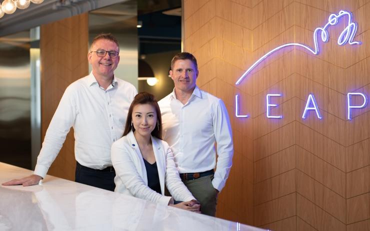 L-R: Matthew Allcoat; Gina Wong and Ron Totton (Leap)
