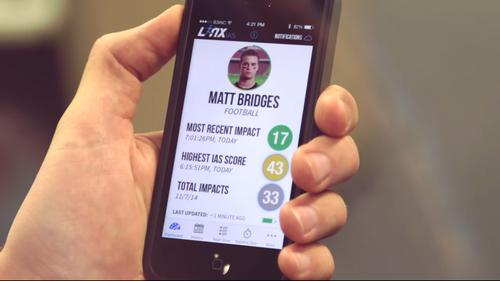 The The Linx Impact Assessment System works with an app to monitor concussions in athletes