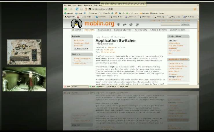 The Moblin Linux desktop application switcher